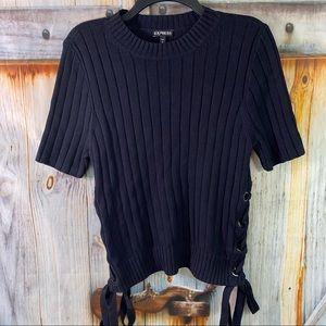 EUC Express Short Sleeve Stretchy Sweater Black Large